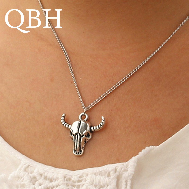 NK937 Steampunk Pendant Men Bijoux Necklaces Totem Bison Buffalo Bull Head Skull Necklace Punk Fashion Jewelry Collares HOT