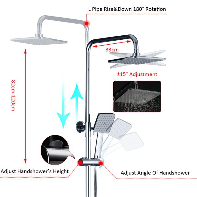 Quyanre Chrome Digital Display Shower Faucet Set Water Dynamic Digital Intelligent Digital Display Shower Faucet Led Shower