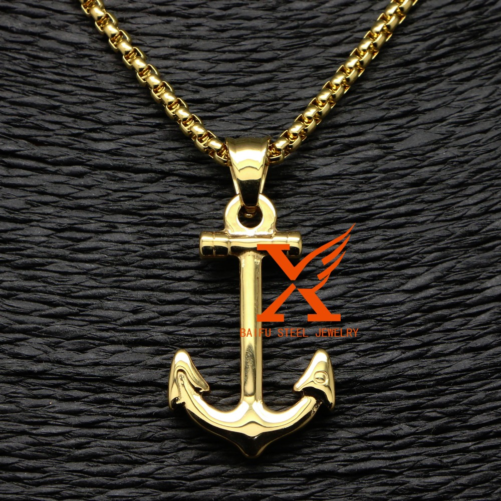 Stainless steel vintage men gold anchor pendant necklace 3m 24 box stainless steel vintage men gold anchor pendant necklace 3m 24 box chain in bridal jewelry sets from jewelry accessories on aliexpress alibaba aloadofball Image collections