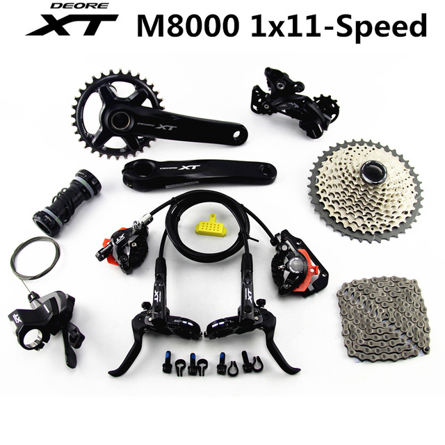 US $431 1 10% OFF|SHIMANO DEORE XT M8000 Groupset 32T 34T 170 175mm  Crankset Mountain Bike Groupset 1x11 Speed 40T 42T 46T M8000 Derailleur  Brake-in