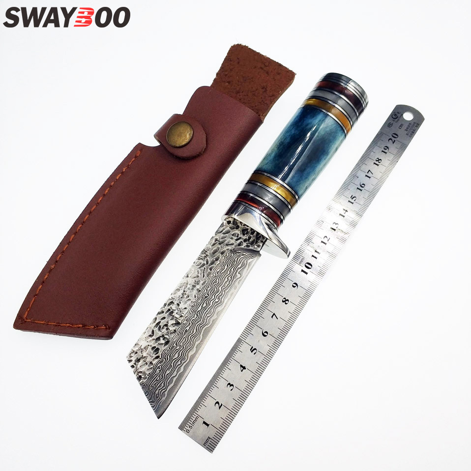 Swayboo high quality survival knife camping camel bone resin brass handle pure manual forging Damascus steel knife fixed blade quality tactical folding knife d2 blade g10 steel handle ball bearing flipper camping survival knife pocket knife tools