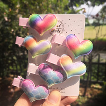 Jolly S 6pcs/lot kids rainbow colorful love hair clips for girls hairpin barrettes cute accessories