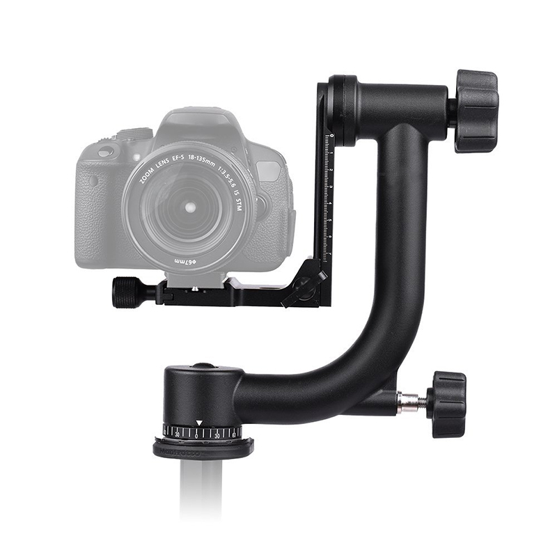 Metal 360 Degree Panoramic Gimbal Tripod Head Arca Swiss Standard Quick Release Plate for Canon Nikon DSLR Camera Bird Watching