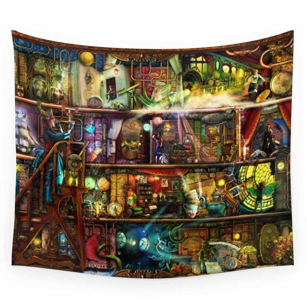 The Fantastic Voyage - A Steampunk Book Shelf Wall Tapestry Wedding Party Gift Bedspread Beach Towel Yoga Picnic Mat