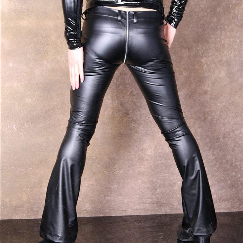 Hommes Faux cuir Pu mat brillant mode pantalon élastique scène Skinny Gay pantalon Zipper ouvert U entrejambe Flare pantalon Gay Wear Q101