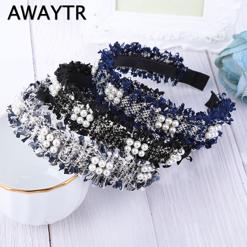 AWAYTR Lace Pearls Hairband for Women Headband Tassel Turban Fashion Female Hair Hoop Girls Hair Accessories Female   Headwear