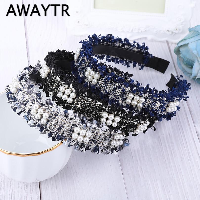 AWAYTR Lace Pearls Hairband for Women Headband Tassel Turban Fashion Female Hair Hoop Girls Hair Accessories Female   Headwear