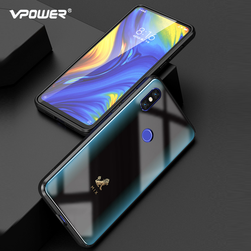 For Xiaomi Mi Mix 3 case cartoon pattern tempered glass VPOWER Explosion proof cover For Xiaomi mix 3 SE shockproof Glass case in Fitted Cases from Cellphones Telecommunications