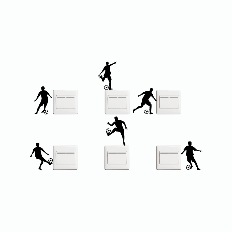 KG-269 Set Of 6 DIY Creative Football Switch Stickers Cartoon Silhouette Vinyl Wall Sticker Home Wallpaper