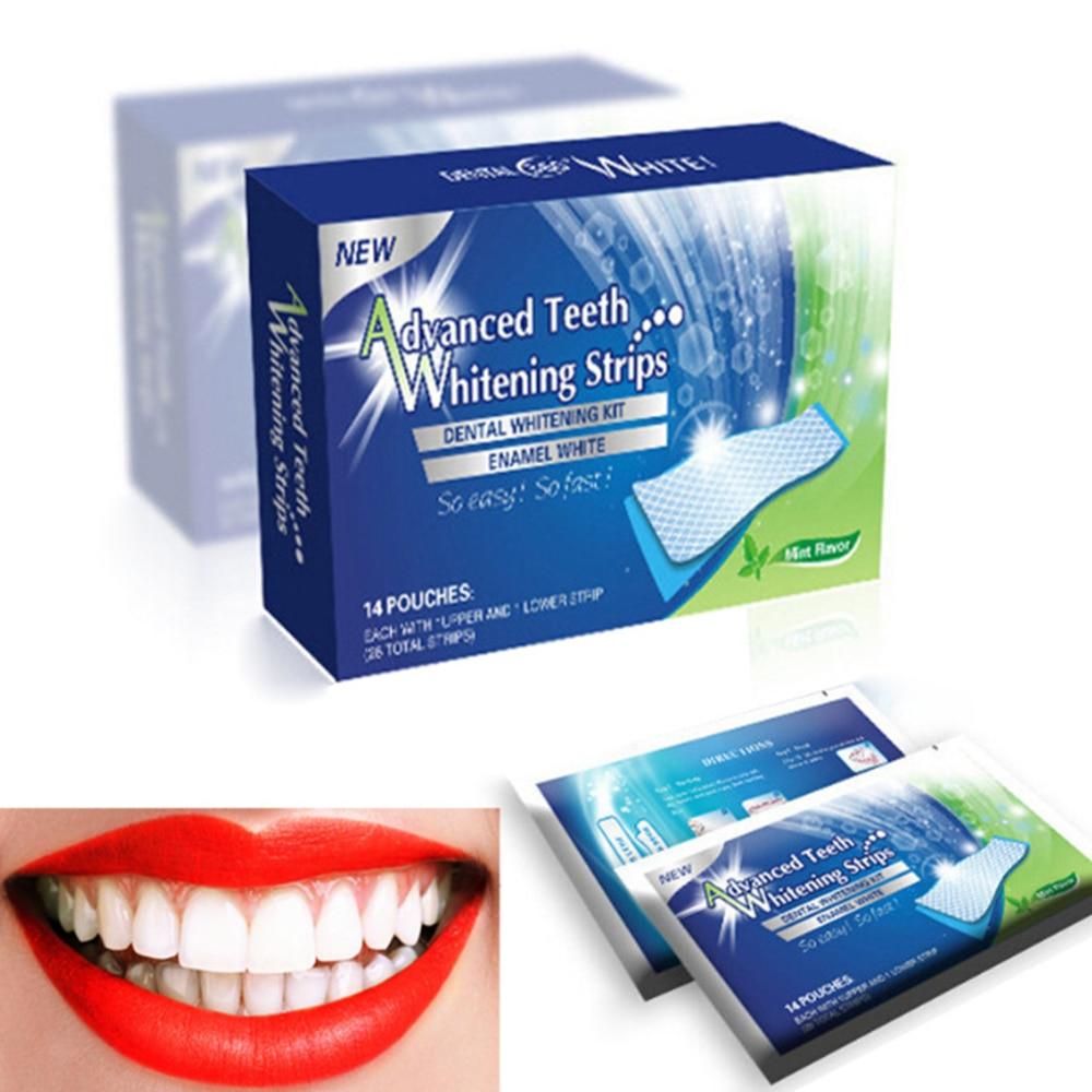 28 pces/14 par 3d gel dentes branqueamento tiras dente branco kit dental higiene oral cuidados tira para dentes falsos folheados dentista seks