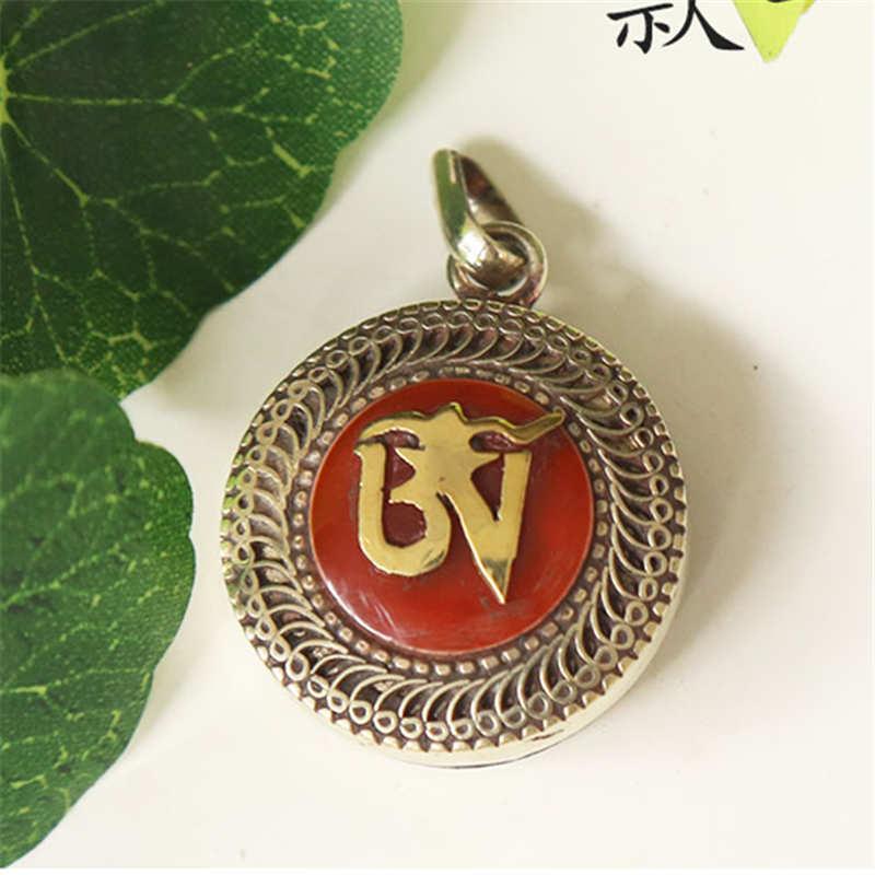 TGB111 Тибетский ОМ мантра молитвенный ящик медальон амулет белый металл медь инкрустация красочные каменные подвески - Окраска металла: Red