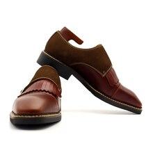 Караоке джентльмен Мужская обувь чисто ручной с бахромой и пряжкой Оксфордские туфли для мужчин Мужская обувь свадебные