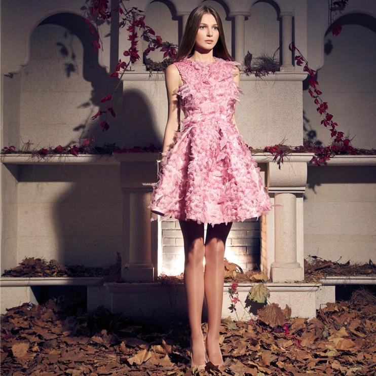 Bastante corto Pink Feather vestidos cóctel sin mangas hasta la ...