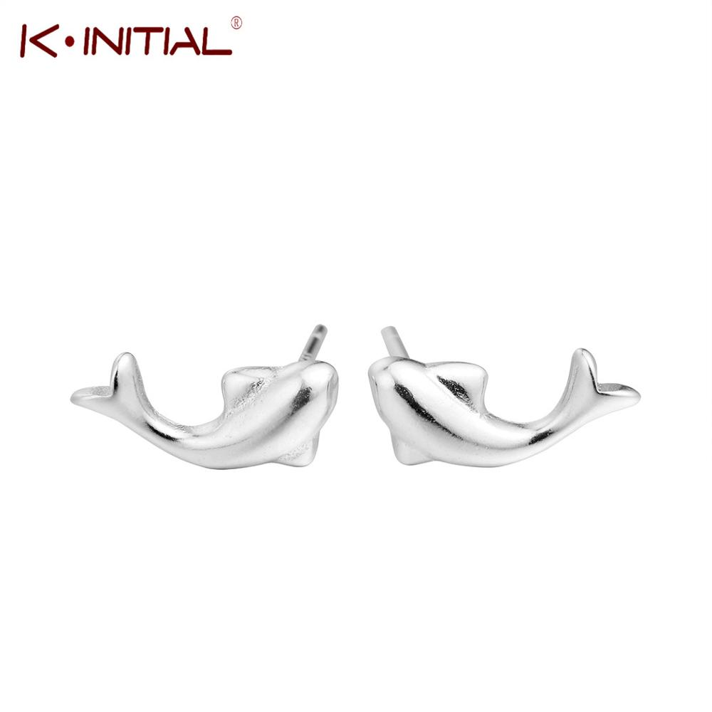 Kinitial Charm Animal Dolphin Design Stud Earrings 925 Silver Fashion Jewelry Black Friday Cute Fish Earrings for Girls Gift