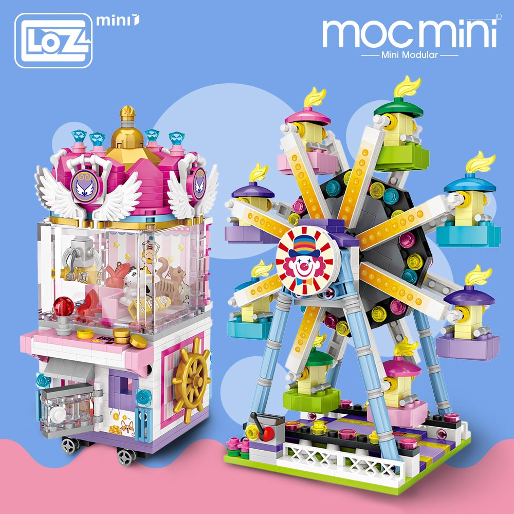 LOZ Mini Blocks Amusement Park Brick Building Blocks Toys for Kids Assembly DIY Children Street City View Educational 3d Model