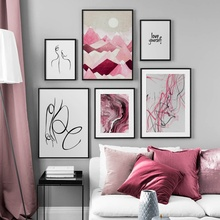 Watercolor Texture Abstract Line Woman Mountain Wall Art Canvas Painting Nordic Posters And Prints Pictures For Living Room