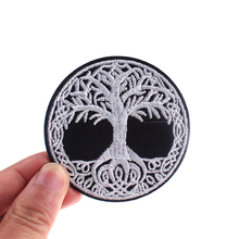 Pulaqi Creative life Tree Punk Patch Iron On Patches Gesture Alien Rocket Rock Decor DIY Badge For Kids Embroidered F