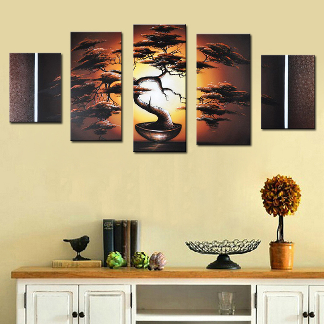 5 Pieces Pine Tree Bonsai Oil Painting Group Hand Painted Wall Art ...
