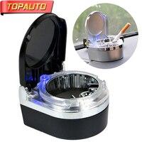 TopAuto Car LED Light Ashtray PVC Metal Auto Cigarette Ash Holder Cup Fashion LED Car Ashtray