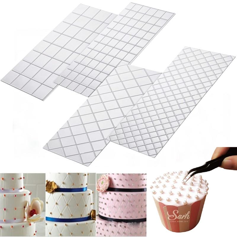 4pc/Set Grid Transparent Texture Mat Cake Border Decorating Tools Cake Mold Fondant Imprint Baking Mat Fondant Cutter Cake Tools