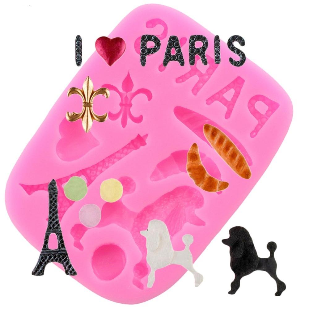Frankrijk Parijs Thema Siliconen Mallen Eiffeltoren Relief Fondant Cake Decorating Gereedschap Gumpaste Chocolade Mallen