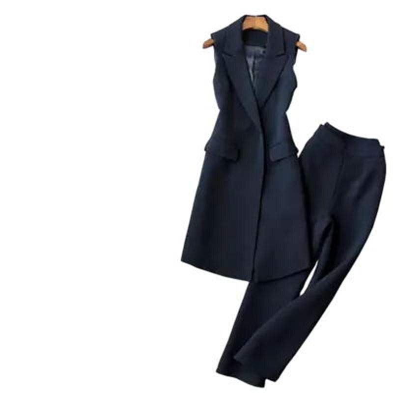 패션 조끼 정장 여성 가을 새로운 슬림 롱 섹션 민소매 정장 조끼 자켓 + 9 포인트 와이드 레그 바지 투피스 슈트-에서여성 세트부터 여성 의류 의  그룹 1