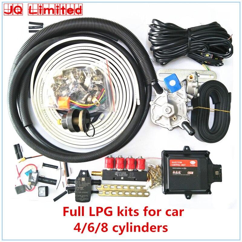 OCAK 4 silindir Tam set propan metan LPG CNG dönüşüm kitleri için araba ECU kitleri + redüktör + Enjektör + aksesuarları Hiçbir gaz tankı