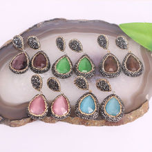 Charms ~ 6pair Pave Crystal Rhinestone Cat's eye stone Fashion Dangle Earrings Jewelry Finding