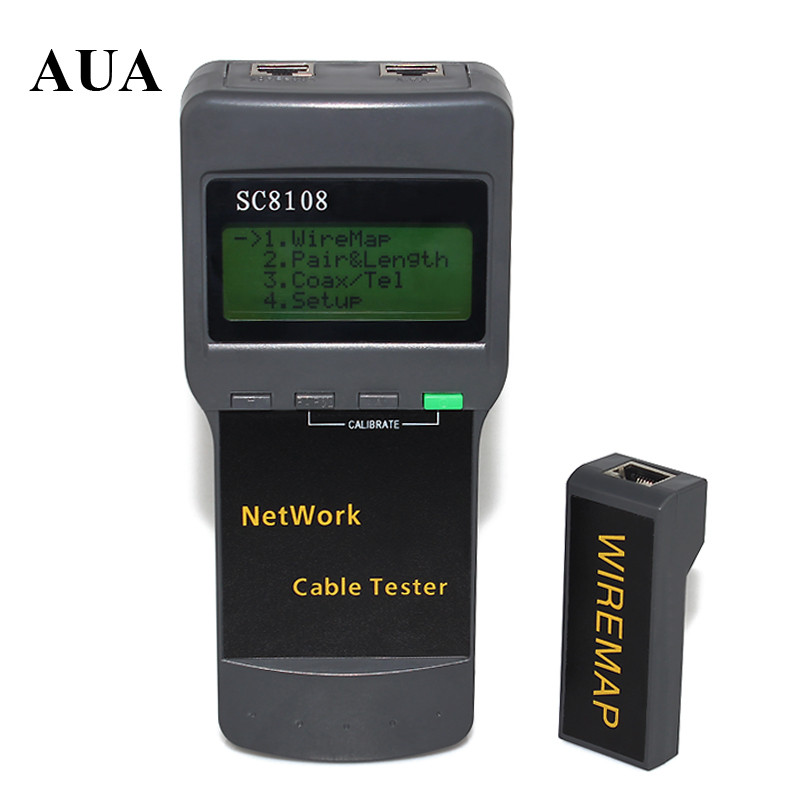 SC8108 Portable LCD Network Tester Meter&LAN Phone Cable Tester & Meter With LCD Display RJ45 Free Shipping
