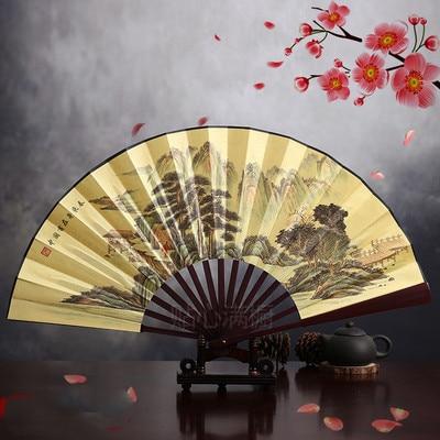 """1"""" украшенный Шелковый складной Ручной Веер человек большой бамбуковый китайский Печатный веер из ткани традиционное ремесло свадебные сувениры веер - Цвет: spring coming"""