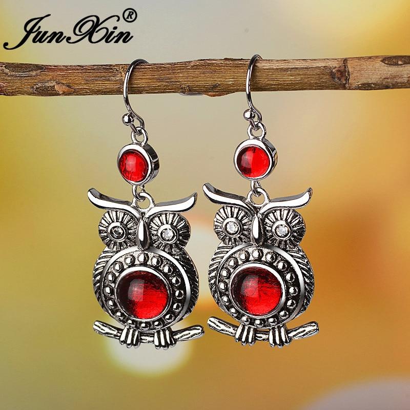 JUNXIN Girl Antique Style Red Stone Owl Drop Earrings For Women Synthetic Moonstone Earrings Engagement Piercing Earring Female