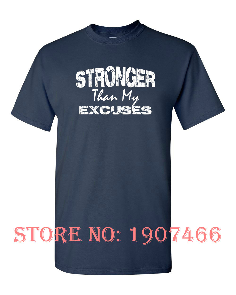 Black Fashion STRONGER Than My EXCUSES Workout Trainer Exercise Fitness MEN'S Tee Shirt 1074