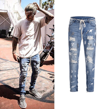 2018 Vintage New Ripped Frayed Pants Men hip-hop slim hole washing rock splash-ink stretch distressed ripped skinny Pencil jeans