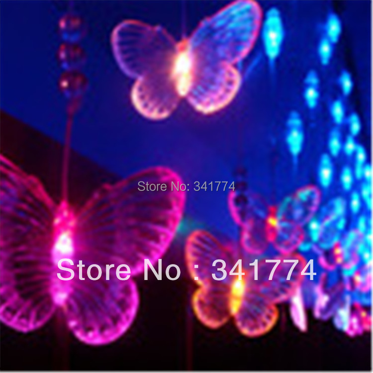 New LED 4*0.65m Curtain String Lights Butterfly Garland Chandelier For Home Garden Outdoor Fairy Wedding Party Bar Decoration freeshipping 2 mtr x 4 mtr p18 matrix led rgb dj party garden star video curtain backdrop for home garden birthday party
