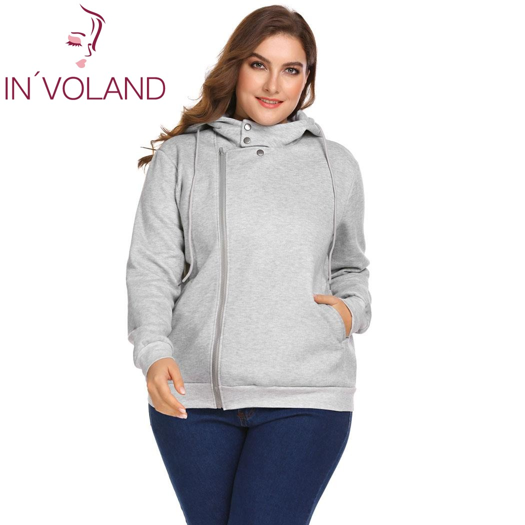 IN'VOLAND Large Size XL-5XL Women Hoodie Hooded Casual Long Sleeve Sweatshirt Asymmetrical Zip-up Large Pullovers Tops Plus Size casual long sleeve hooded women s zip up hoodie