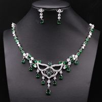 GZJY Beautiful White Gold Color Red/Bule/Green/Purple/Black Waterdrop Crystal AAA Zircon Wedding Jewelry Set For Women