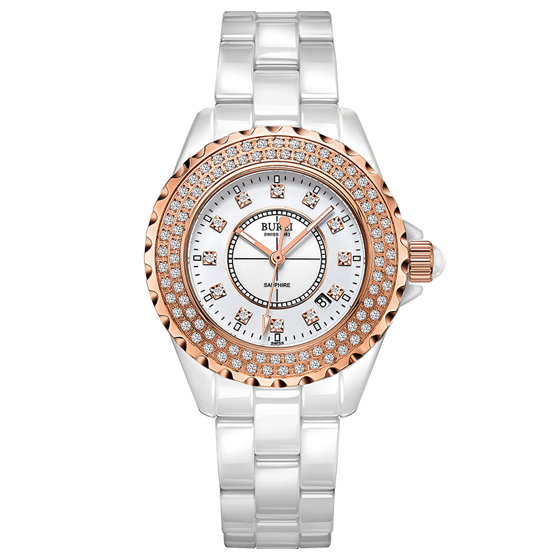 BUREI 18003 Switzerland watch women luxury brand J12 series Austria diamond Ceramic calendar Double rose gold relogio feminino цена