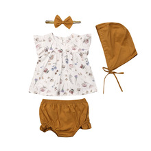 Newborn Baby Girl Floral Clothes Set Girls Ruffle Sleeve Tops Solid Color Shorts Hat Headband 4Pcs Outfit Sets 0-3T недорого