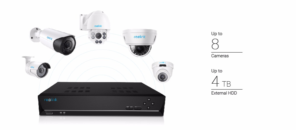 US $142 49 25% OFF|Reolink NVR 8ch for Reolink 4MP/5MP ip camera P2P 24/7  recording H 264 Video Recorder RLN8 410-in Surveillance Video Recorder from