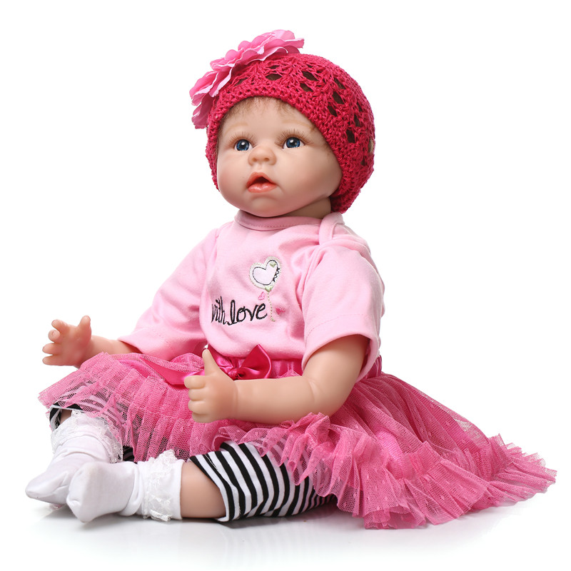 Lifelike NPK Dolls 22inch/55cm Silicone Reborn Baby Dolls In Pink Doll Reborn For Girl Princess Gift Brinquedos For Child free shipping hot sale real silicon baby dolls 55cm 22inch npk brand lifelike lovely reborn dolls babies toys for children gift
