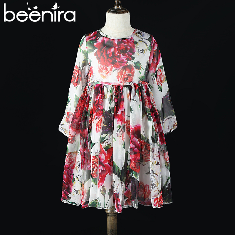 Beenira Children Dress 2018 New European And American Style Girls Flower Printing Voile Princess Dress 4-14Y Baby Clothing Dress beenira children clothes dresses 2017 new summer fashion style girls flower pattern bow princess dress for 4 14y baby girl dress