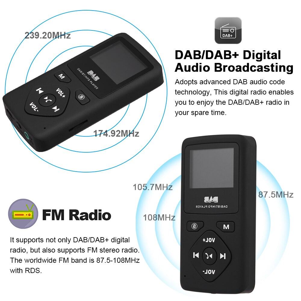 Image 3 - Multimedia play Portable Pocket DAB/DAB /FM Radio Receiver with  Earphone LCD Display Screen Rechargeable Multimedia playerRadio   -