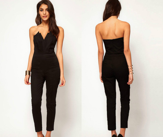 2017 Summer Women Casual Elegant Black Back Zipper Hollow Sleeveless Long Playsuits Rompers Womens Jumpsuit Plus Size Overalls