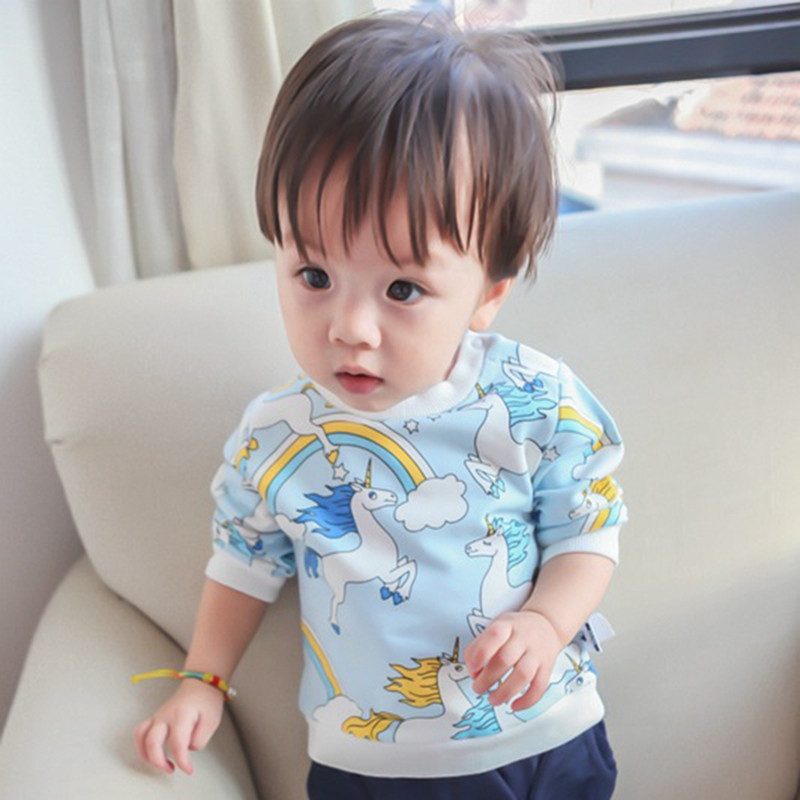 High Quality Cotton Long Sleeve T-shirt Baby Boy Clothing Unicorn Print Kids Shirt Baby Girls 2017 New Spring Summer Clothes