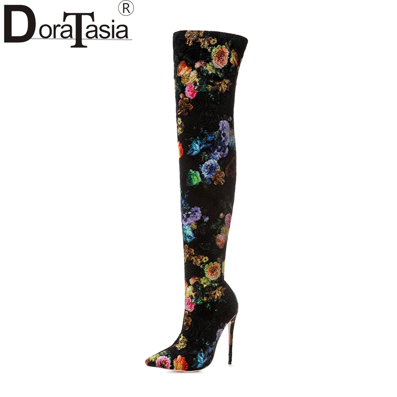 DoraTasia new arrivals plus size 33-43 pointed toe brand women shoes woman sexy top quality er the knee boots high heels new 2017 spring summer women shoes pointed toe high quality brand fashion womens flats ladies plus size 41 sweet flock t179
