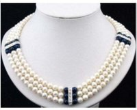 3 Rows white black pearl crystal pendant Necklace