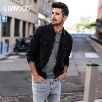 SIMWOOD 2018 Spring New Denim Shirt Men Double Pocket Vintage Fashion Shirts Cotton Slim Fit High