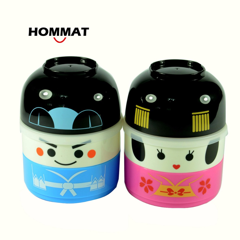 Hakoya Geisha Doll Kawaii Japanese Bento Lunch Boxs for Kids Picnic School Food Container Bowls Lunchbox Plastic BPA Free(China (Mainland))
