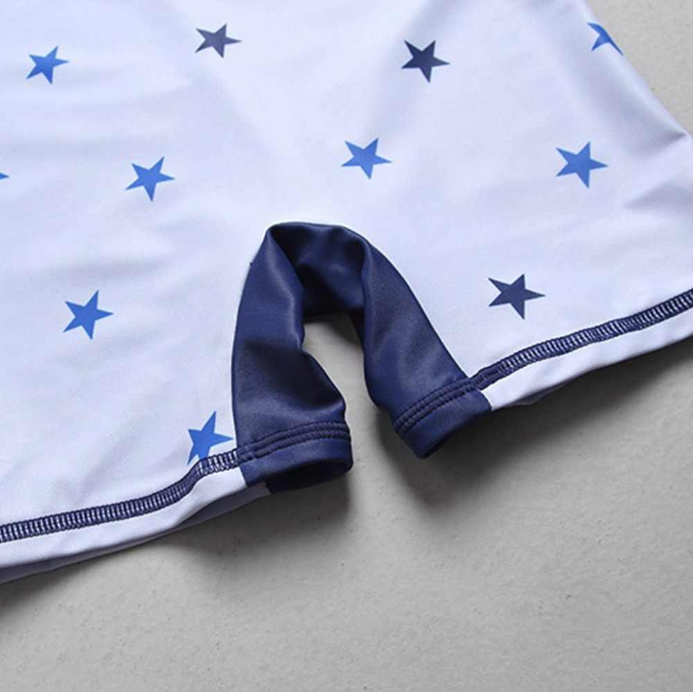 الطفل الأولاد ملابس السباحة لباس سباحة UV UPF50 + نجوم نمط بأكمام قصيرة الشاطئ قطعة واحدة ملابس السباحة للأطفال الطفل الصبي لباس سباحة