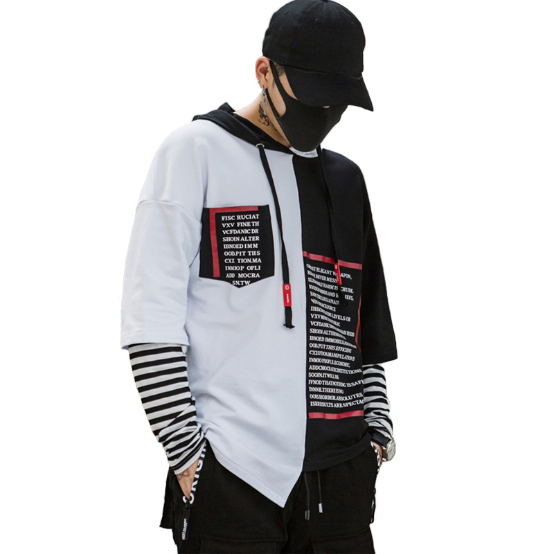 HOT Western High Street Printed Letters Irregularity Stylish Pullover Mens Hoodies Hip Hop Autumn Casual Thin Hooded Sweatshirts
